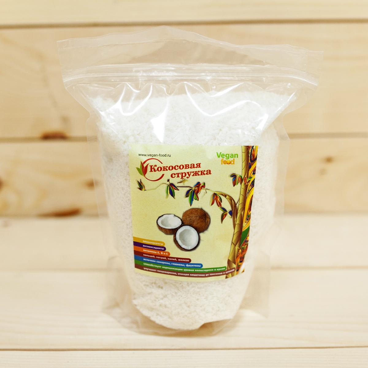 Кокосовая стружка Vegan Food, 300гр/Coconut Chips Vegan Food, 300g