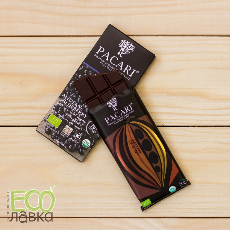 "Органический шоколад Pacari Raw ""Спирулина"", 50 гр/Organic Pacari Chocolate with Spirulina, 50g"