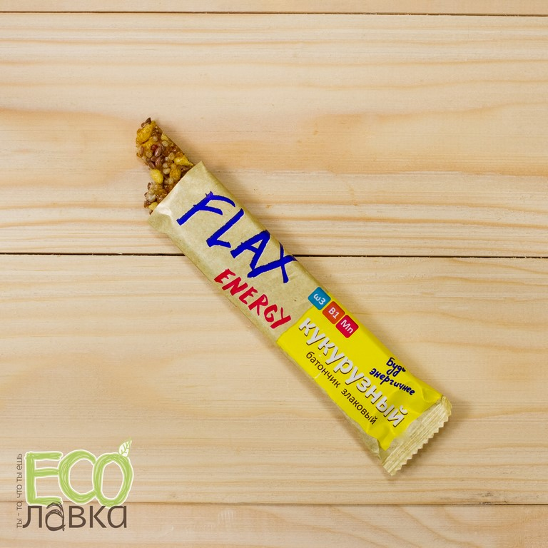 Батончик Флакс Энерджи Кукурузный, 20 гр/Corn Flax Energy Bar, 20g